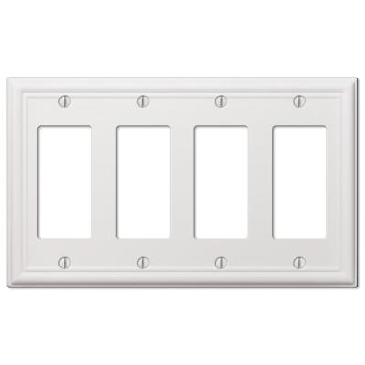 Ascher 4 Gang Rocker Steel Wall Plate - White