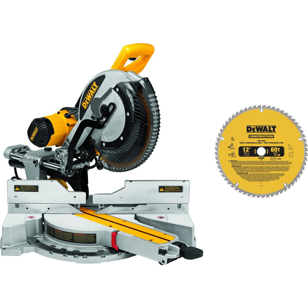 DEWALT 15-Amp Corded 12 in. Double-Bevel Sliding Compound Miter Saw with Bonus 20 Series 12 in. 60T Fine Finish Saw Blade