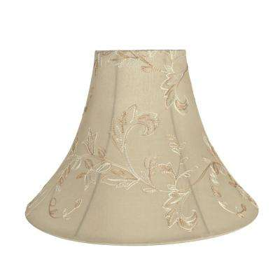 16 in. x 12 in. Apricot and Floral Design Bell Lamp Shade