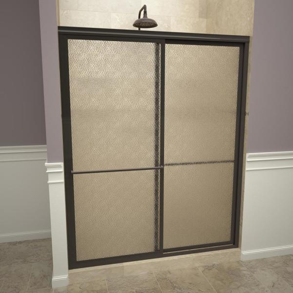 1100 Series 47 in. W x 71-1/2 in. H Framed Sliding Shower Doors in Oil Rubbed Bronze with Towel Bars and Obscure Glass