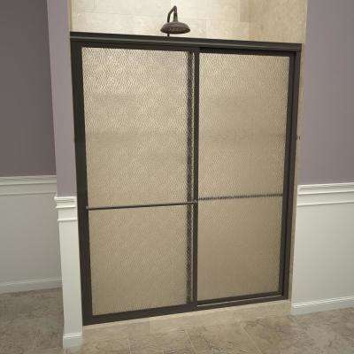 1100 Series 59 in. W x 71-1/2 in. H Framed Sliding Shower Doors in Oil Rubbed Bronze with Towel Bars and Obscure Glass