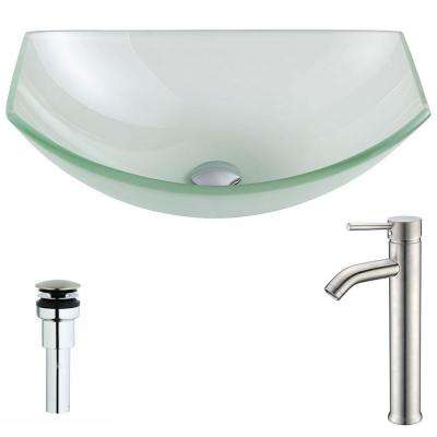 Pendant Series Deco-Glass Vessel Sink in Lustrous Frosted with Fann Faucet in Brushed Nickel