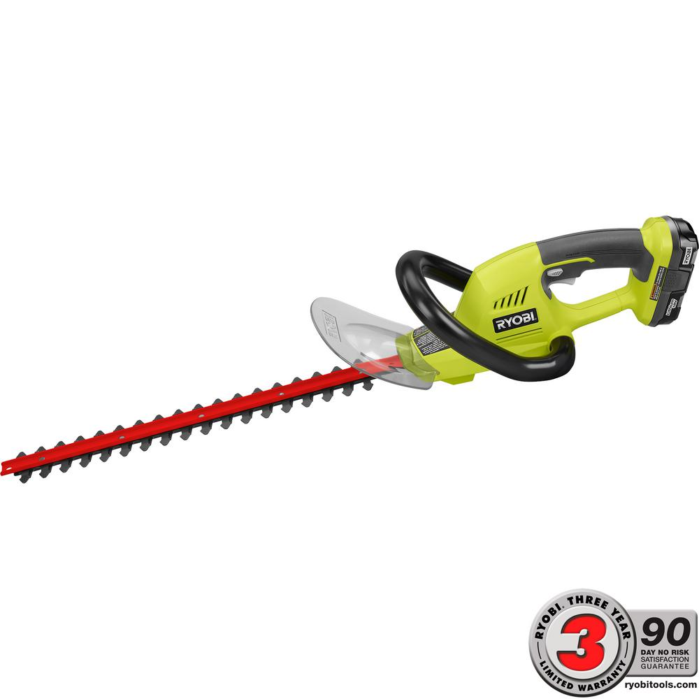 Ryobi ONE+ 18 in. 18-Volt Lithium-Ion Cordless Hedge Trimmer - 1.3 Ah Battery and Charger Included