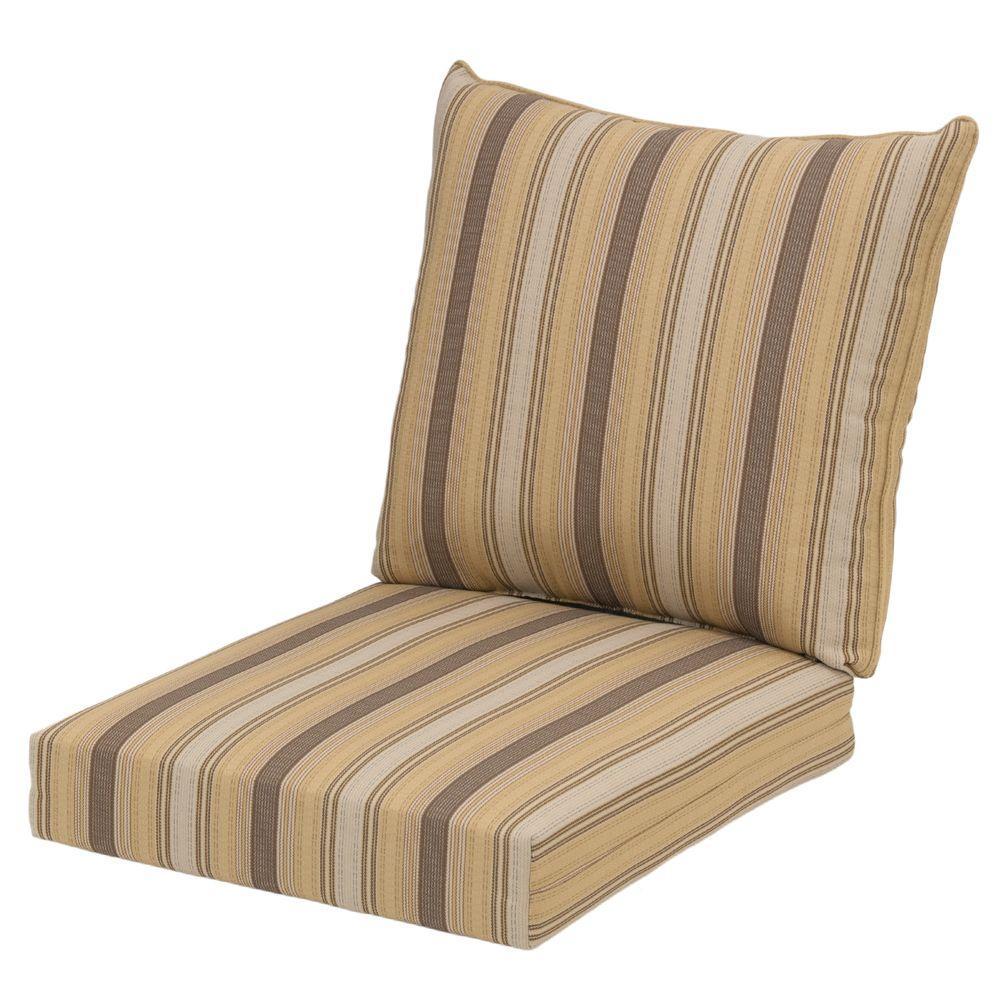 Hampton Bay 22 x 24 Outdoor Chair Cushion in Standard Cornbread Stripe