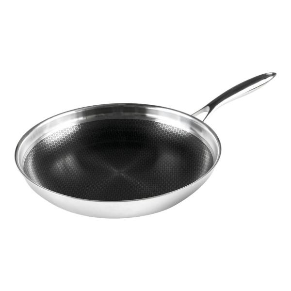 Black Cube Stainless Steel Fry Pan with Non-Stick Coating BC132