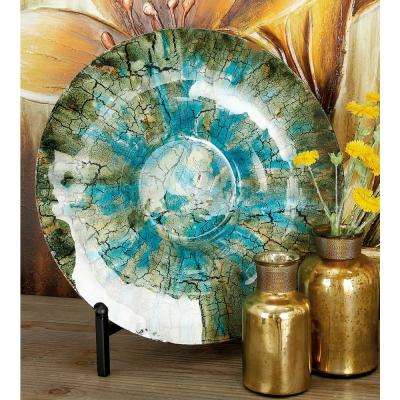 18 in. Rustic Turquoise and Brown Glass Charger Plate with Black Iron Stand