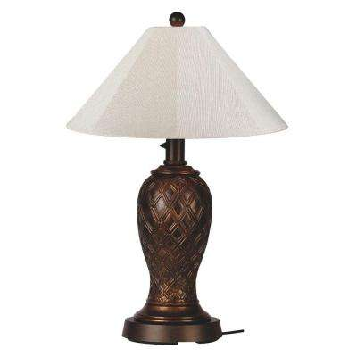 Monterey 34 in. Bronze Outdoor Table Lamp with Canvas Linen Shade