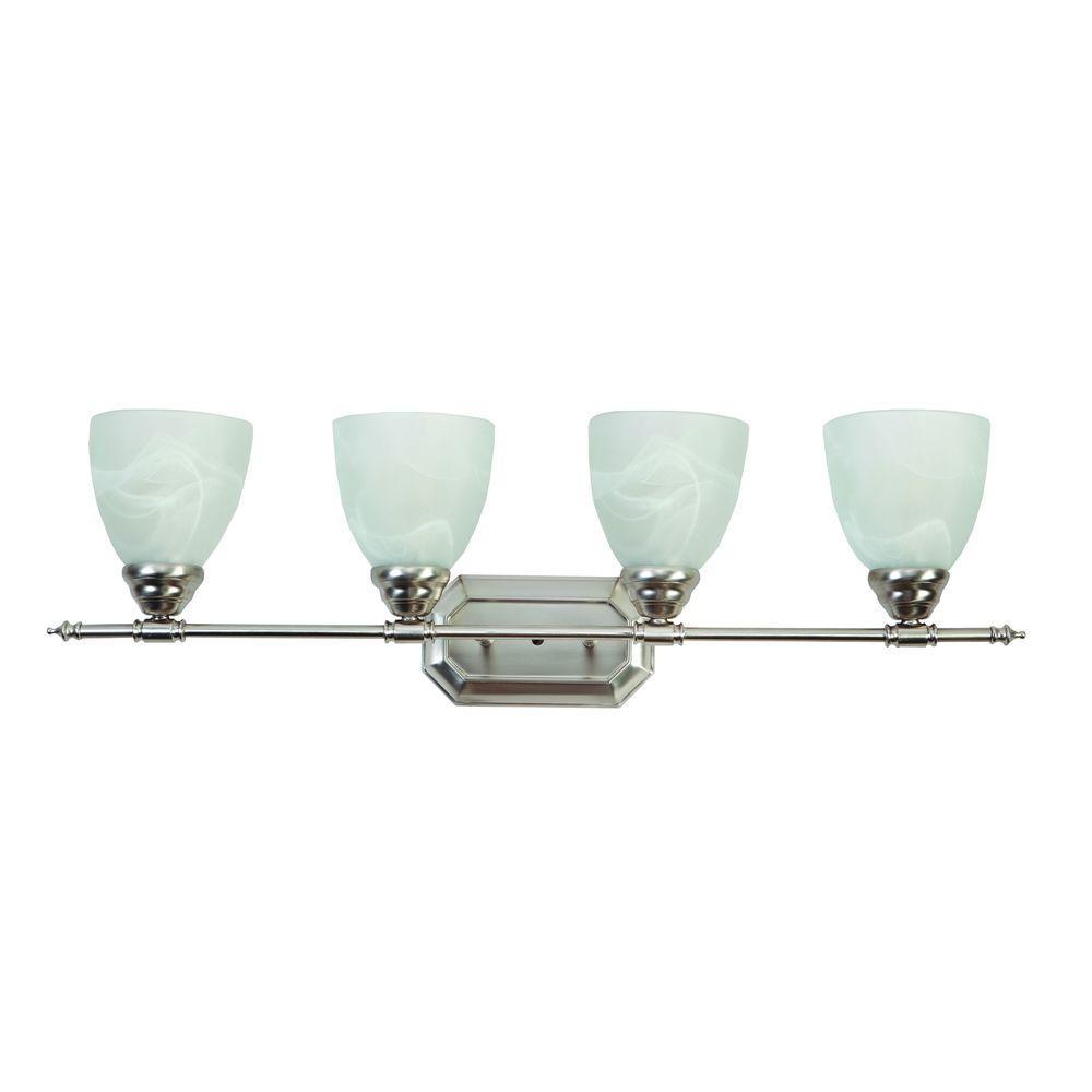 Vanity Lighting Series 4-Light Brushed Nickel Bathroom Vanity Light with White Glass Shade