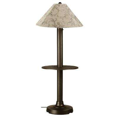 Catalina 63.5 in. Bronze Outdoor Floor Lamp with Tray Table and Bessemer Linen Shade