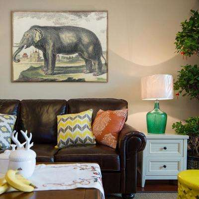 """30 in. x 40 in. """"Diderot Elephant"""" Antique Fresco Printed on Hand Applied Plaster Jute Wall Art"""