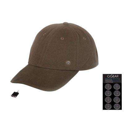 Coin Battery Hat with Attachable LED Light, Brown