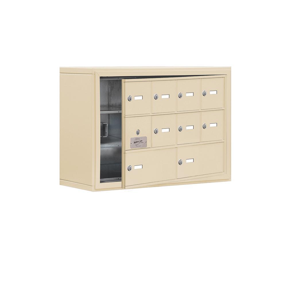 19100 Series 30.5 in. W x 20 in. H x 9.25 in. D 9 Doors Cell Phone Locker Surface Mount Keyed Lock in Sandstone