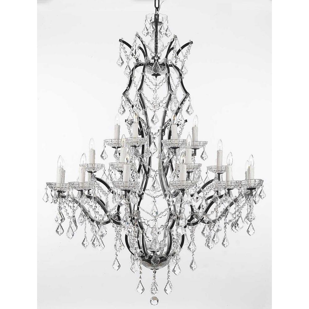Versailles 25-Light Black Baroque Iron Chandelier