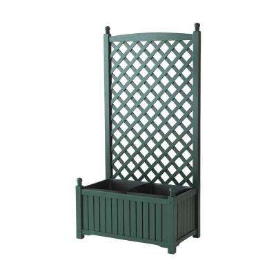 Lexington 28 in. x 16 in. Hunter Green Wood Planter with Trellis