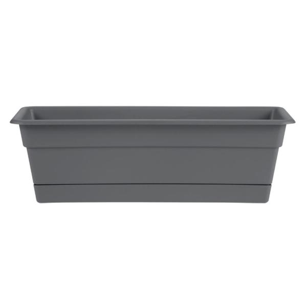 Dura Cotta 24 in. x 5.75 in. Charcoal Plastic Window Box Planter with Tray