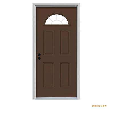 36 in. x 80 in. Fan Lite Dark Chocolate Painted Steel Prehung Right-Hand Inswing Front Door w/Brickmould