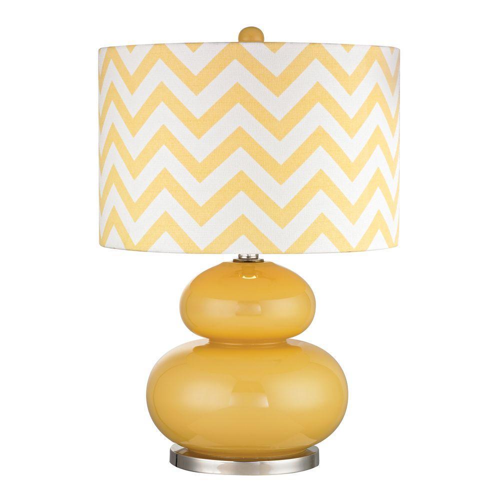 Tavistock 24 in. Sunshine Yellow and Polished Nickel Table Lamp