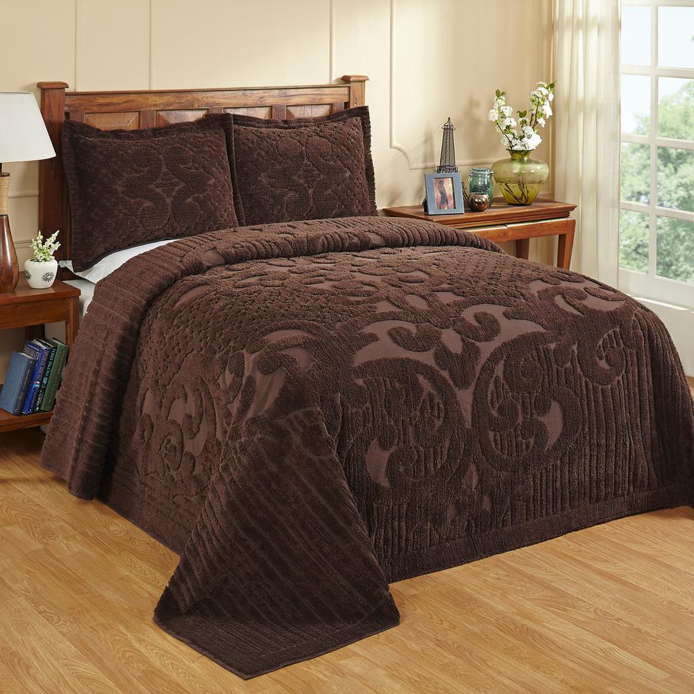 Ashton Collection in Medallion Design Chocolate Twin 100% Cotton Tufted Chenille Bedspread