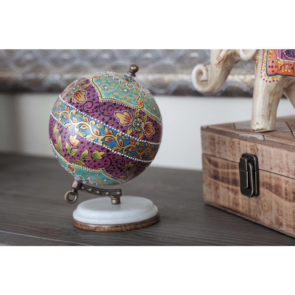 7 in. x 5 in. Modern Decorative Globe in Magenta