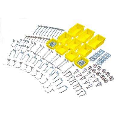 DuraHook 95-Piece Zinc Plated Steel Hook & Bin Assortment for DuraBoard (85 Assortment Hooks & 10 Assortment Bins)