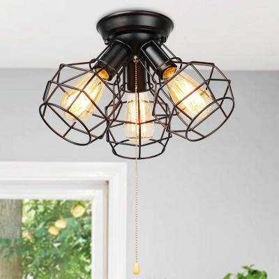 3-Light Vintage Oil Rubbed Black Metal Cage Industrial Pull Chain Semi-Flush Mount Light Fixture