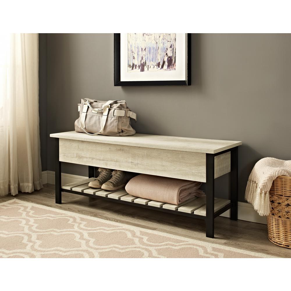 White Oak Open Top Storage Bench With Shoe Shelf