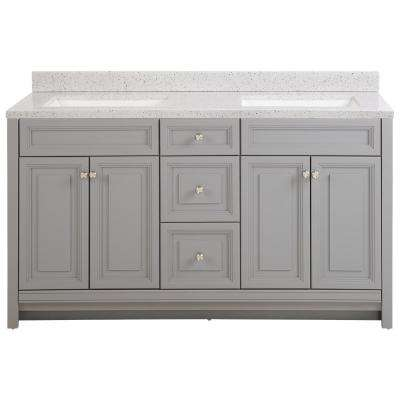 Brinkhill 61 in. W x 22 in. D Bath Vanity in Sterling Gray with Solid Surface Vanity Top in Silver Ash with White Sink