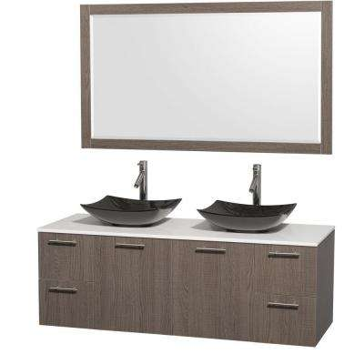 Amare 60 in. Double Vanity in Gray Oak with Solid-Surface Vanity Top in White, Granite Sinks and 58 in. Mirror