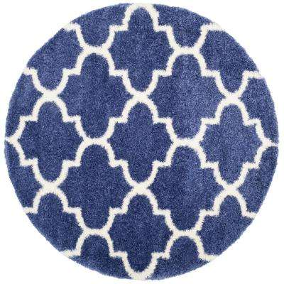 Montreal Shag Periwinkle/Ivory 6 ft. 7 in. x 6 ft. 7 in. Round Area Rug