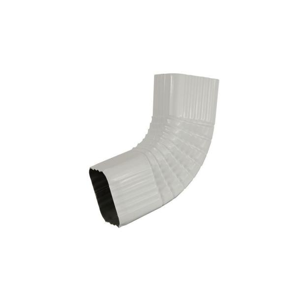 3 in. x 4 in. White Aluminum Downspout 80 Degree B Elbow
