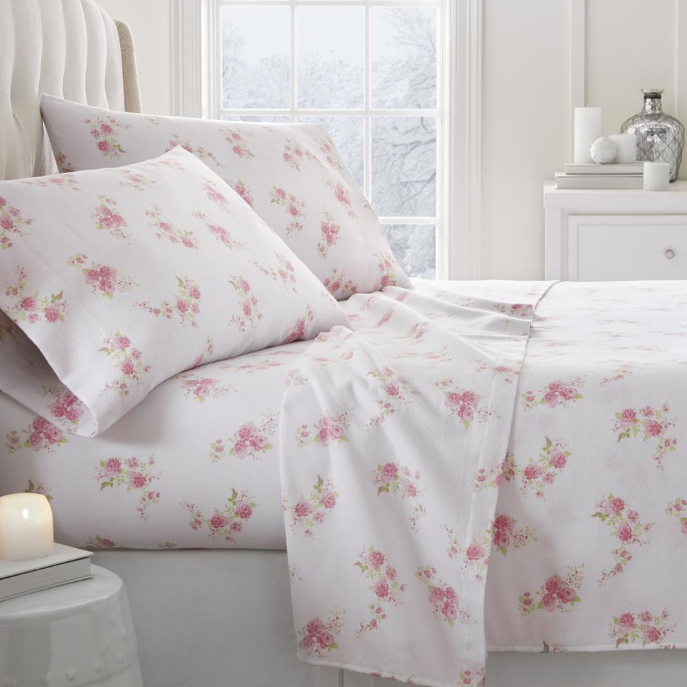 Rose Flannel 4-Piece Pink Full Bed Sheet Set