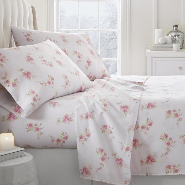 Becky Cameron Rose Flannel Pink Queen 4-Piece Bed Sheet Set IEH-4PC-FRO-Q-PI