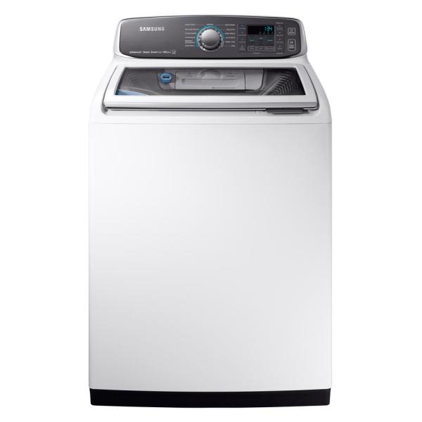 Samsung 5 2 Cu Ft High Efficiency Top Load Washer With Steam And Activewash In White Energy Star Wa52m7750aw The Home Depot