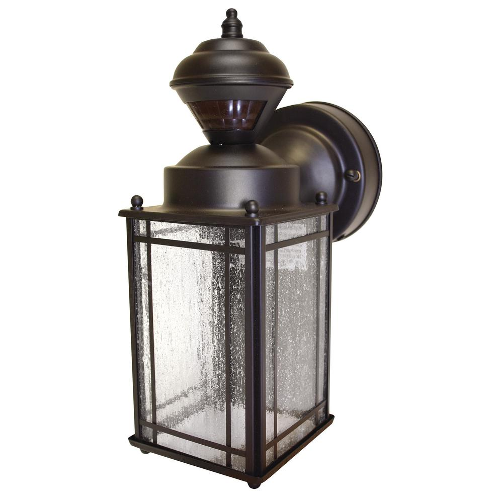 Hampton Bay Shaker Cove Mission 150 Degree Outdoor Oiled Rubbed Bronze Motion-Sensing Lantern