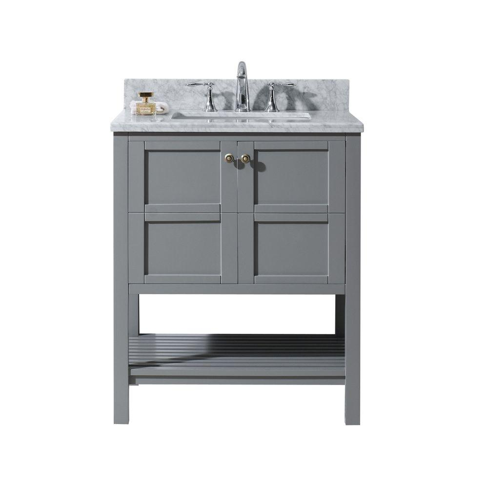 Virtu USA Winterfell 30 in. W Bath Vanity in Gray with Marble Vanity Top in White with Round Basin