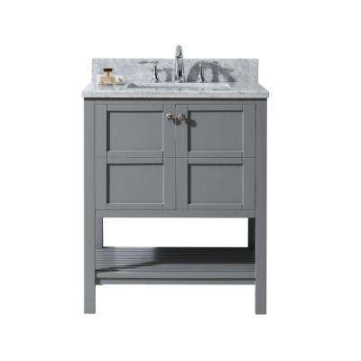 Perfect Winterfell 30 In. W X 22 In. D Vanity In Grey With Marble Vanity