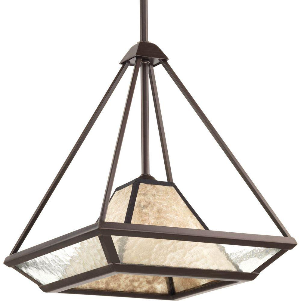 Progress Lighting Collins Collection 1-Light Antique Bronze Foyer Pendant with Water Glass