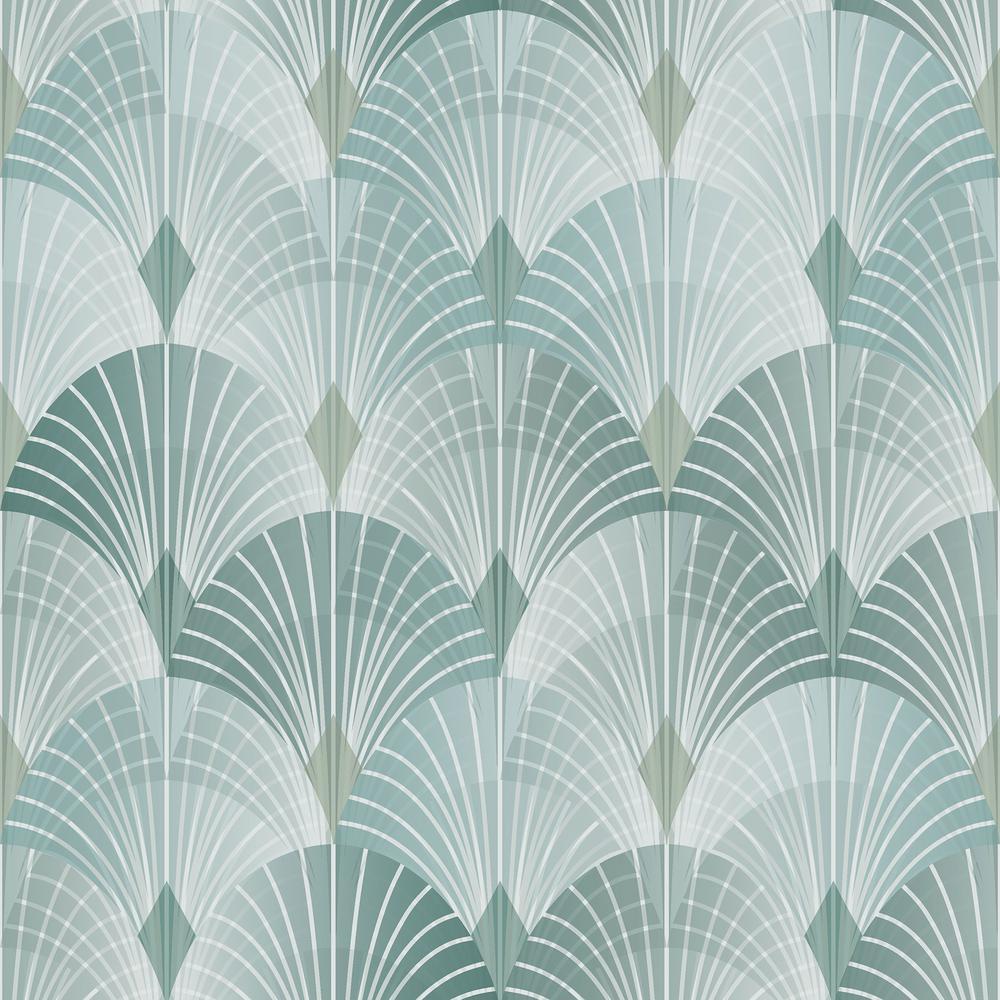 57.8 sq. ft. Pigalle Green Fan Wallpaper