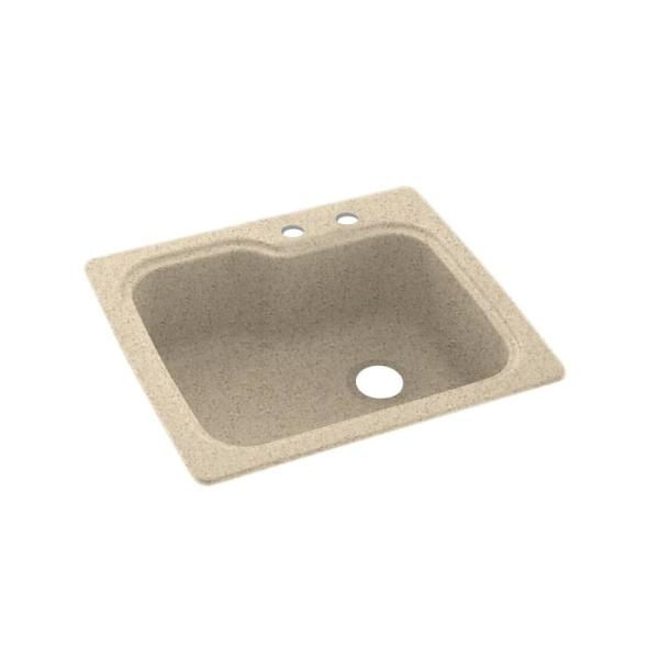 Swan Dual Mount Solid Surface 25 In X 22 In 2 Hole Single Bowl Kitchen Sink In Bermuda Sand Ks02522sb 040 2c The Home Depot