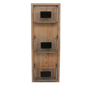 Deals on StyleWell Wood Wall Organizer with 3 Metal Wire Baskets
