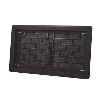16 in. x 8 in. ABS Plastic Replacement Manual Foundation Vent in Black