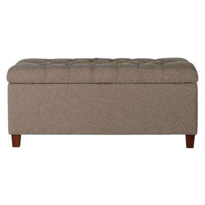Brown Tufted Storage Bench