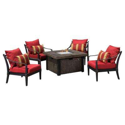 Astoria 5 Piece Fire Pit Chat Set With Cantina Red Cushions