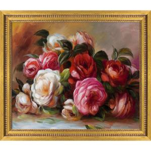 ''Discarded Roses with Versailles Gold Queen'' by Pierre-Auguste Renoir Framed Abstract Oil Painting 25 in. x 29 in.