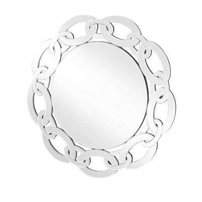 Emory 31 in. Contemporary Round Mirror with Clear MDF Frame, Round Shape, Mounting Type: D Ring