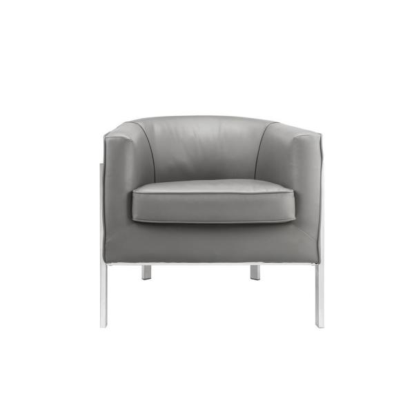 Faux Leather Gray and Silver Upholstered Wooden Accent Chair with Metal Legs