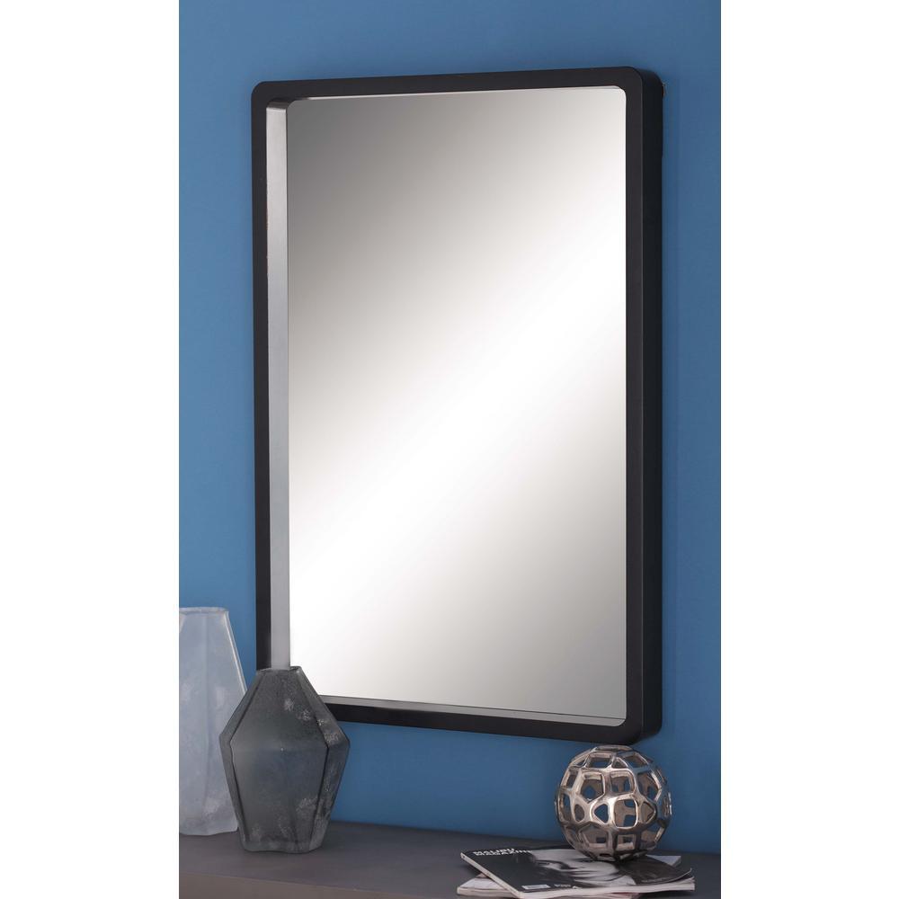 36 in. x 23 in. Modern Rectangular Framed Wall Mirror in Black