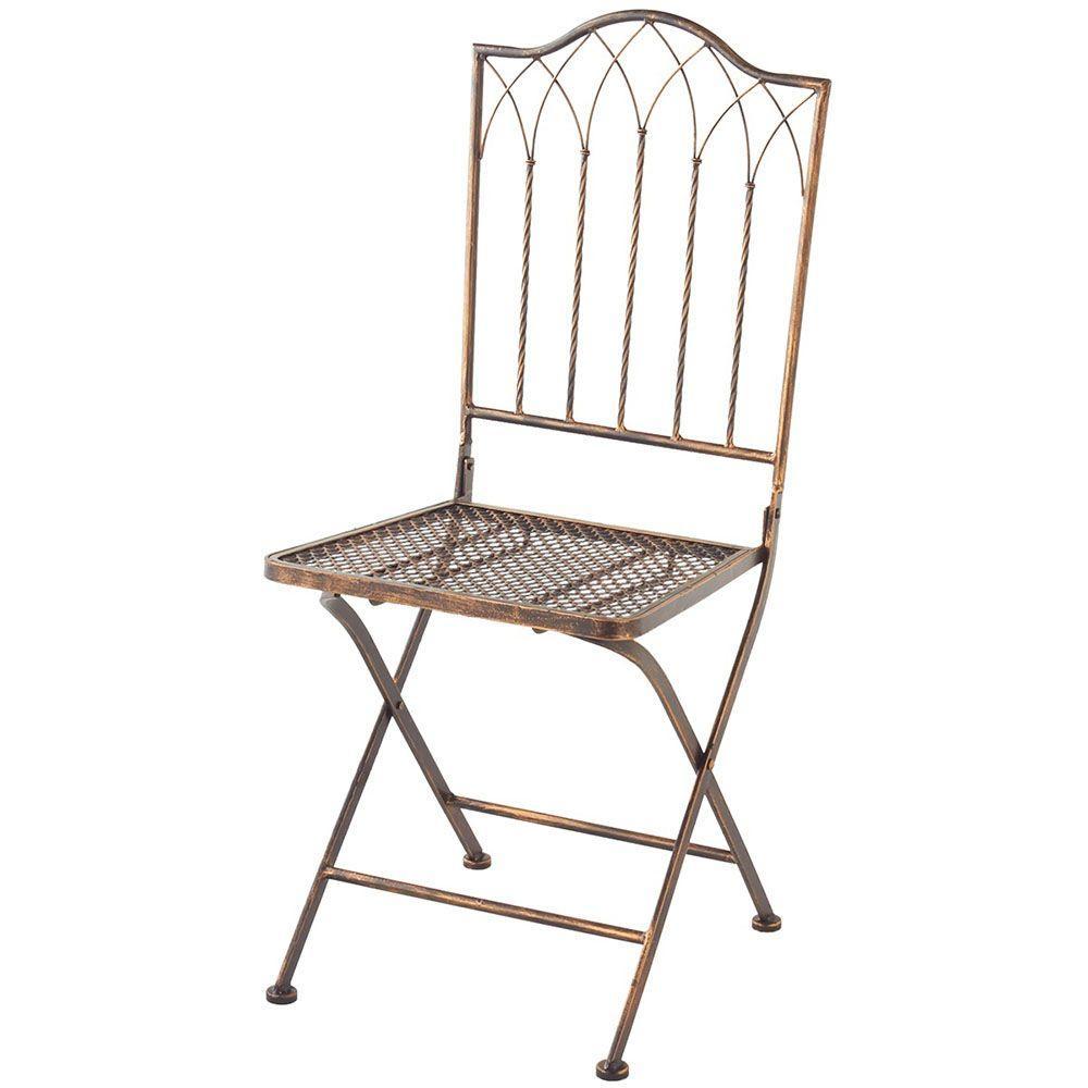Sundry Antique Bronze Metal Folding Patio Chair