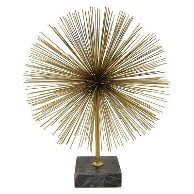 16 in. Gold Metal Urchin with Marble Base