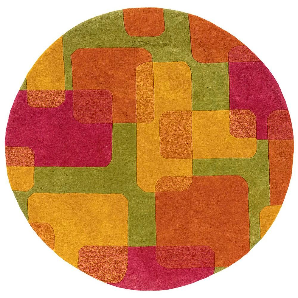 Contemporary Lime 7 ft. 9 in. Round Plush Indoor Area Rug